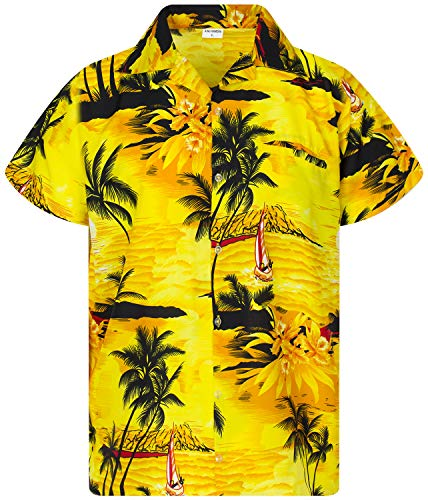 King Kameha Funky Hawaiihemd, Kurzarm, Surf New, Gelb, XL
