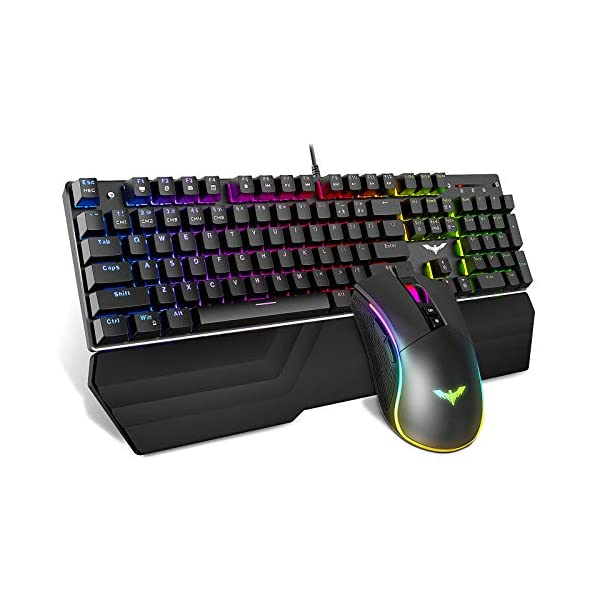 Havit Mechanical Keyboard and Mouse Combo RGB Gaming 104 Keys Blue Switches Wired...