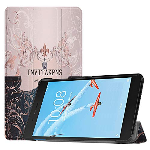 MmanuuFfacturer Horizontal Flip French Flower Texture Pattern Colored Painted PU Leather Case For Lenovo E7 / TB-7104F, With Three-folding Holder (PATTERN : French flower texture)