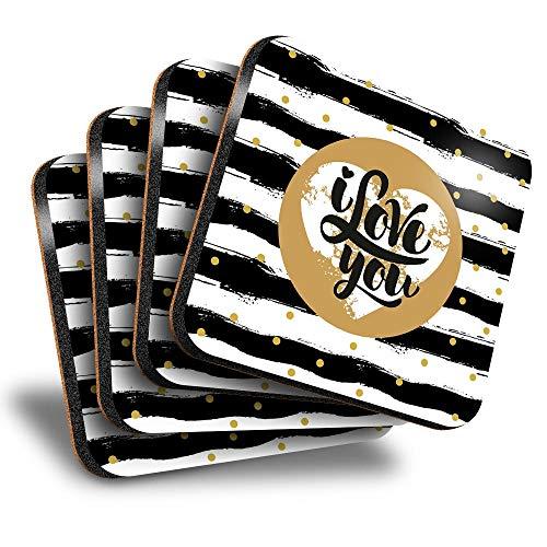 Destination Vinyl ltd Great Posavasos cuadrados (juego de 4) – I Love You Heart Valentines Day Drink brillante posavasos / protección de mesa para cualquier tipo de mesa #16998