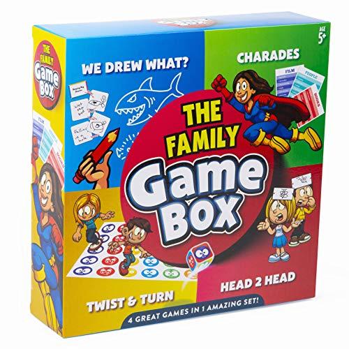 abeec Family Game Box - 4 juegos en 1 para toda la familia - Charades, Dibujamos Qué, Giro y Cabeza 2 Cabeza - Los mejores juegos de cartas, juegos familiares y juegos de viaje para niños