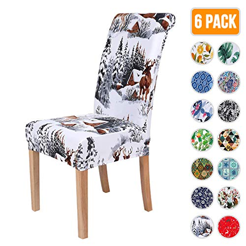 Colorxy Spandex Chair Covers for Dining Room Set of 6, Stretch Printed Chair Protectors Covers, Removable and Washable, Watercolor Winter Landscape with Deers