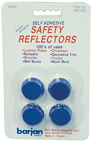Barjan 491292 Multi-Purpose Mini Blue Round Self Adhesive Safety Reflectors - 4 Per Card