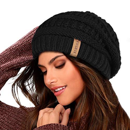 FURTALK Damen Beanie Mütze Warme Wintermütze mit Weichem Innenfutter Gefütterte Strickmütze,Schwarz,Einheitsgröße