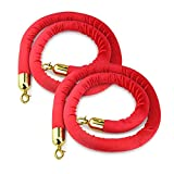 New Star Foodservice 54750 Red Velvet Stanchion Rope with Gold Color Plated Hooks, 79.5-Inch, Set of 2