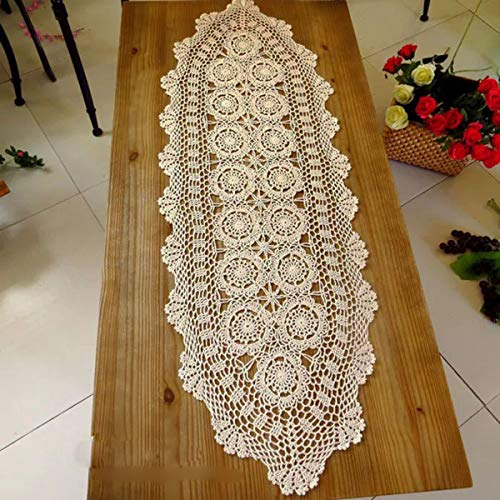 Janef Beige Handmade Crochet Doilies Cotton Table Runner Lace Doilies Doily Oval Dresser Scarves for bedrooms,16 by 35 Inches.