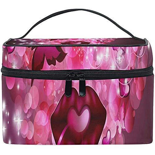 Trousse De Toilette Rose Coeur Papier Peint Femmes Beauté Maquillage Cas Brosse Organisateur Cosmétique
