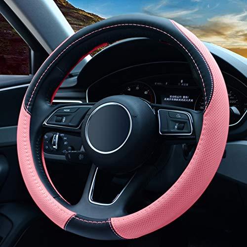 Universale Coprivolante Auto in pelle - Antiscivolo & Accessori di Protezione del Volante Traspirante, Ottimo regalo per donne e ragazze, 37-38 cm/Rosa