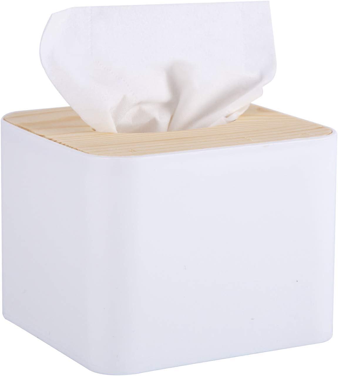 Blkthun - Caja Para Pañuelos, Caja de Servilleta Para Papel, Tapa de Bambú Dispensador de Pañuelos, Tissue Boxsador de Pañuelos