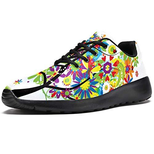 Zapatillas deportivas para correr para mujer, coloridas, con diseño de arco iris, de malla, transpirables, para caminar, senderismo, tenis, color, talla 39 EU