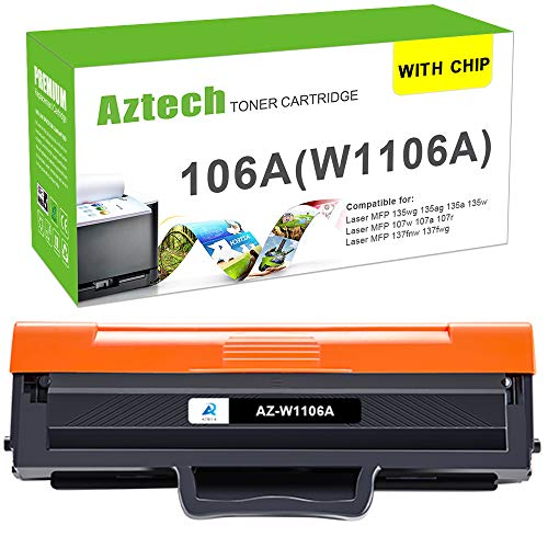 (Mit Chip) Aztech Kompatibel Toner Cartridge Replacement für HP W1106A 106A Toner für HP 135wg 107w HP Laser MFP 135wg 107w 137fwg Toner HP MFP 135ag 137fnw Toner HP 135a 107a 135w (1 Pack,Schwarz)