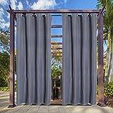 Clothink Outdoor Vorhang - B:132xH:215cm Grau - mit Ösen - Winddicht Wasserabweisend Sichtschutz...