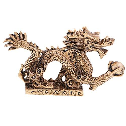 D DOLITY Estatua de Dragón de Bronce Ornamento Artesanal para Escritorio Estantería Negocio - 12 x 2.3 x 7 cm