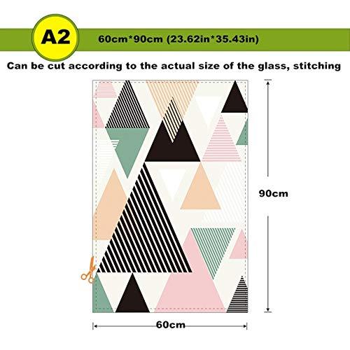 N / A Adesivo per vetri a Colori Geometrico Adesivo in Vetro Autoadesivo Pellicola in Vetro Smerigliato Porta Scorrevole Balcone WC Trasparente Traslucido A1 60x90cm