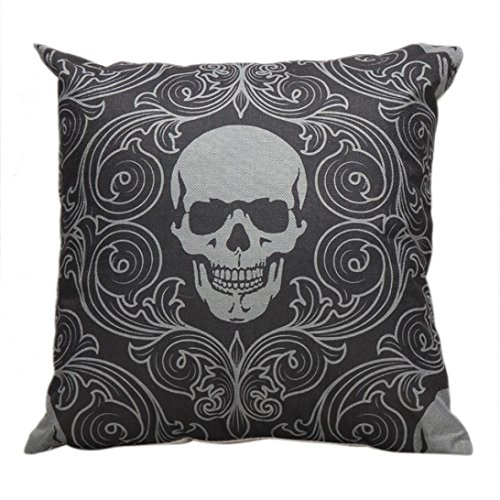 kingko taie D'Oreiller Skull Halloween Sofa Taille Coussin Throw Cover Linen Mélange Home Decor (F)