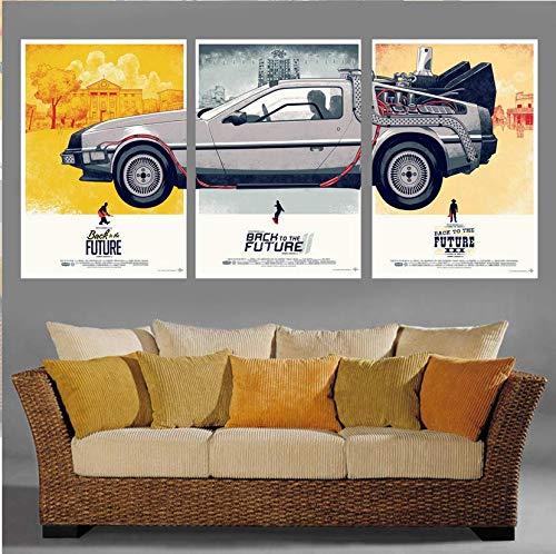 Fvfbd Cuadros modulares 3 Panel de Regreso al Futuro impresión Lienzo Pintura Moderna Pared Arte Lienzo Cuadro Arte Pintura para Sala de Estar Sin Marco 50cmx70cmx3 pcs