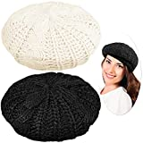 SATINIOR 2 Pieces Ladies Soft and Lightweight Crochet Solid Color Beret, One Size Casual Beanie (Black, Beige)