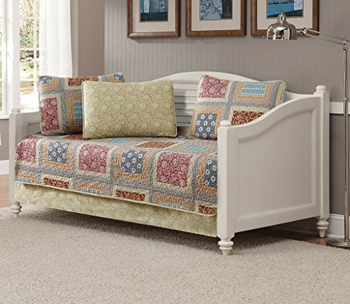 Fancy Linen 5pc Daybed Quilt Bedspread Set Bed Cover Squares Floral Taupe Brown Blue Red New