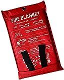 1,5 x 1,5 m Coperta antincendio di emergenza, coperta antincendio, coperta ignifuga, copertura di sicurezza per cucina, camino, auto, ufficio, magazzino