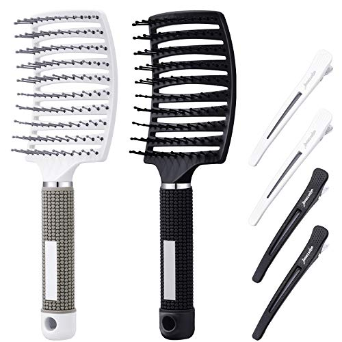 2 Pieces Curved Vented Hair Brush Combs Detangling Brush Styling Hair Scalp Massage Tool Reducing Hair Breakage Curved Fast Blow Drying Brush with 4 Pieces Sectioning Hair Clips for Wet and Dry Hair