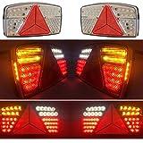 KIT 2 PILOTOS LED TRASEROS 7 FUNCIONES CON TRIANGULO PARA REMOLQUE 12V 24V HOMOLOGADOS