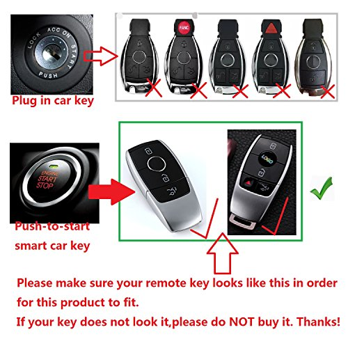 M.JVisun Soft Silicone Rubber Carbon Fiber Texture Cover Car Remote Key Fob Case for Mercedes-Benz 2019-2021 A-Class C-Class G-Class 2017-2021 E-Class 2018-2021 S-Class Key - Black - Round Keychain