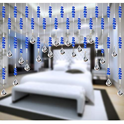 GDMING Glazen parelgordijn, deurgordijn, dradengordijn, pailletten, kristalpaneel, helder parelketting, ruimteverdeler, raamdecoratie, slaapkamer, balkon, aanpasbaar