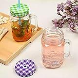 RELEMTRA 500ml Mason Jar with Lid and Strew Beverage Soft Drink Glass , Kids Glass Jar , Juice , Milk Dispenser Set of (2)