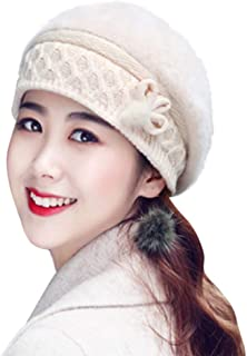 Women Vintage Wool Knit Beret Hat,Crytech Elegant French Style Beanie Beret Hat Autumn and Winter Warm Retro Knitted Dome Newsboy Artist Hat Painter Cap for Lady Girl
