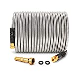 Cesun 50 Feet 304 Stainless Steel Metal Garden Hose with Solid Brass Nozzle, Lightweight Portable Durable Cool to The Touch, Flexible and No Kink, Tangle Puncture Resistant (50 Feet Upgraded)
