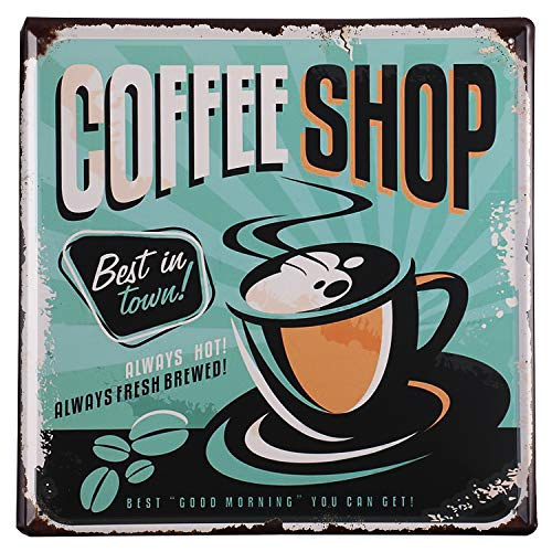 Nafico Large Coffee Bar Signs Decor Vintage Coffee Tin Sign Metal Wall Decoration Art Home Room Outdoor Decor 12'x12'