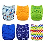Babygoal Cloth Diaper Covers for Fitted Diapers and Prefolds with Double Gusset,Adjustable Reusable for Baby Boys, 6pcs Covers+One Wet Bag 6DCF03