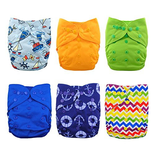 Babygoal Cloth Diaper Cover for Boys,Baby Adjustable Reusable Covers for Fitted Diapers and Prefolds, 6pcs Baby Clothes Covers+One Wet Bag 6DCF03