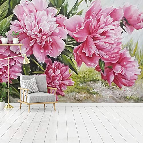 XIAOHUKK 3D self-Adhesive Wallpaper Large Mural Hand-Painted Pink Peony Flowers Home Decoration Mural Art Modern Home Decoration Living Room Dining Room Bedroom