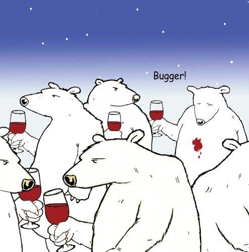 Twizler - Biglietto divertente con orso polare e vino – Biglietto vuoto – Biglietto di buon compleanno – Biglietto di auguri per anniversario – Biglietto di pensionamento – Biglietto di auguri – Biglietto di auguri – Buona fortuna