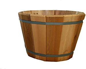 """Real Wood Products Cedar Barrel Tub Planter, Non-Corrosive Galvenized Banding, Drainage Hole, Made in USA - Choose Diameter (22"""")"""