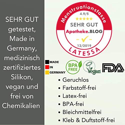 LATESSA Menstruationstasse – Made in Germany – geruchlos – farbstofffrei – medizinisches Silikon – Alternative zu Tampons und Binden – Menstruationstassen als nachhaltige Monatshygiene – Größe 1 – klein - 2