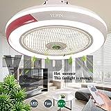 JYTBD Yun TAO Exquisite Lamps Creativo Invisibile 68W Telecomando dimmerabile Ultra-Can Timing Chandelier Modern Living Room Camera da Letto Φ50, Rosso (Color : Red)