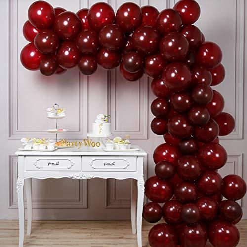 PartyWoo Luftballons Bordeaux, 100 Stück 12 Zoll Luftballon Bordeaux Matt Satz von Luftballons Weinrot, Luftballons Dunkelrot, Luftballon Burgunder für Weinrot Deko, Deko Bordeaux, Deko Burgund