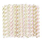 BELLE VOUS Pajitas (100 Piezas) - (19.7cm) 5 Diseños Pajitas Decorativas Biodegradables para Cumpleaños Fiestas, Boda, Babyshower, Aniversario, Graduación, Festividad