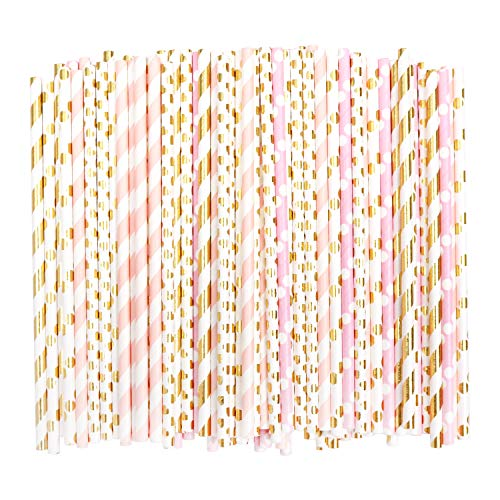 BELLE VOUS Strohhalme (100 Stück) - (19.7cm) 5 Designs Papier Trinkhalme - Biologisch Abbaubare Papierstrohhalm für Hochzeit, Geburtstag Party, Sommerparty Dekoration, Anniversary, Graduation