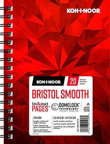 Koh-I-Noor Bristol Smooth Bright White Paper Pad with In and Out Pages, 270 GSM, 5.5 x 8.5