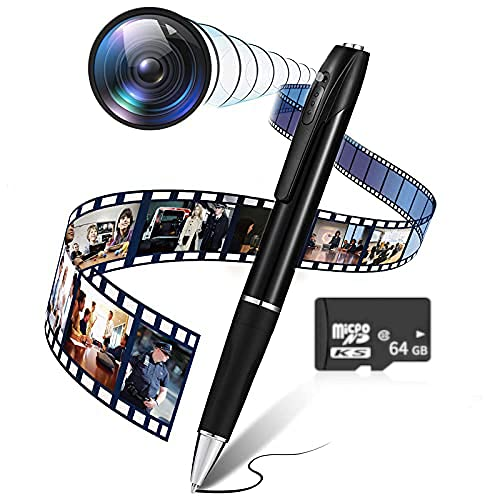 Spy Pen Camera, Hidden Mini Spy Camera (with 64GB SD Memory Card ) Portable Spy Camera Pen with Microphone Full 1080P HD Recording Image Quality, Camera for Personal, Home, Office and Class Learning