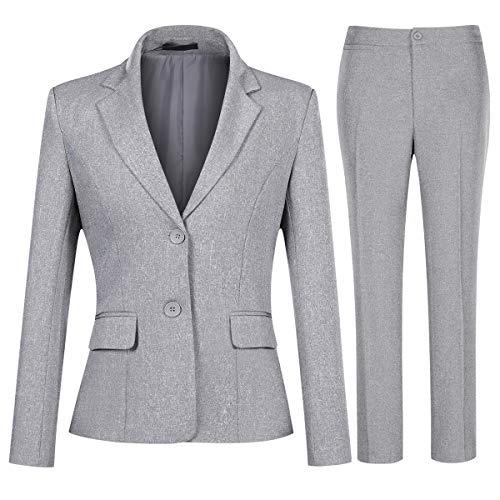 YYNUDA Conjunto de traje para mujer, traje de negocios, ajustado, blazer con pantalones de traje, elegante para oficina y bodas gris XL