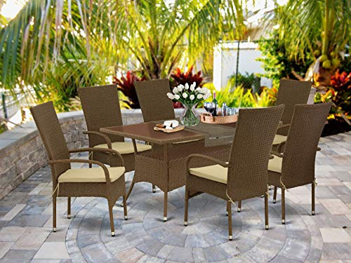 East West Furniture OSOS7-02A 7Pc Outdoor Brown Wicker Dining Set Includes a Patio Table and 6...
