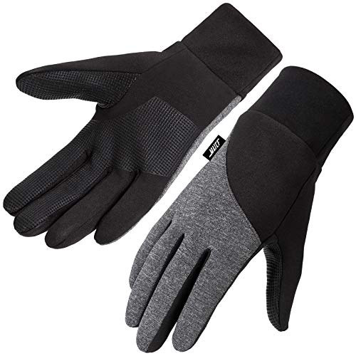 MAJCF Winter Gloves,Thermal Cold Weather Gloves with Touchscreen Windproof Water Resistant Anti-slip Function,Lightweight Running Gloves for Cycling Driving Outdoor Activities (BLACK/DARK GRAY, M)