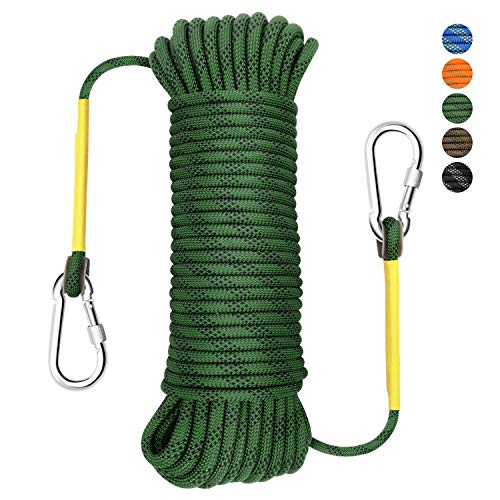 Gonex Static Climbing Rope, 8mm Safety High Strength Tree Climbing Rappelling Rope Indoor Gym Outdoor Hiking Magnet Fishing Fire Escape Rope 32ft Army Green