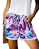 OUGES Womens Comfy Summer Beach Shorts Elastic Waist Short Pants with Pockets(Floral 02, S)