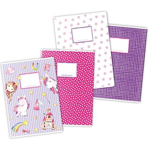 4 cuadernos de ejercicios de alta calidad para niños DIN A4   rayados y cuadriculados 32 páginas - motivo unicornio - para el inicio de la escuela de primaria - set número 2 - 16 hojas
