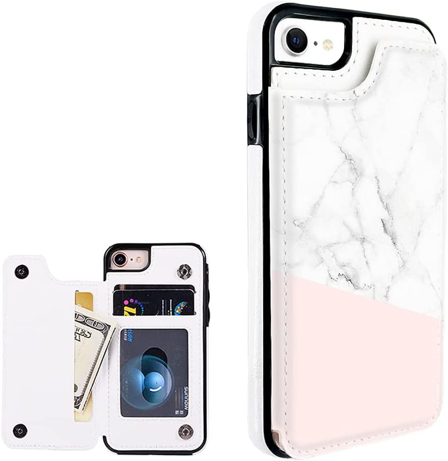 Obbii Baby Pink Marble Leather Flip Case Phone Wallet Compatible with iPhone SE 2nd/8/7/6s/6 4.7